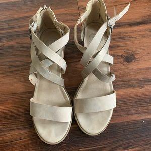 Multi Strap Tan Heels